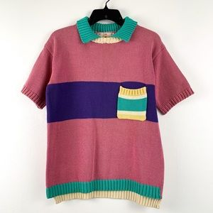 Vintage 70s/80s polo-style short-sleeve sweater